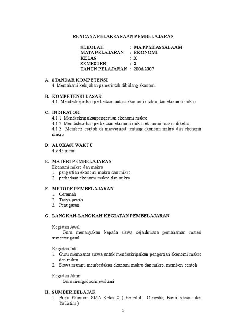 Rpp Ekonomi X 2