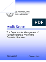 DoE Missing Nuclear Materials Report