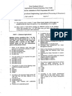 IARI PhD Entrance Question Paper 2011 - Agril Engg (Food Processing)