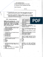IARI PhD Entrance Question Paper 2011 - 2012 Agril Chemicals