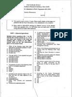 IARI PhD Entrance Question Paper 2011 - Plant Genetic Resources