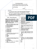 IARI PhD Entrance Question Paper 2011 - Plant Physiology