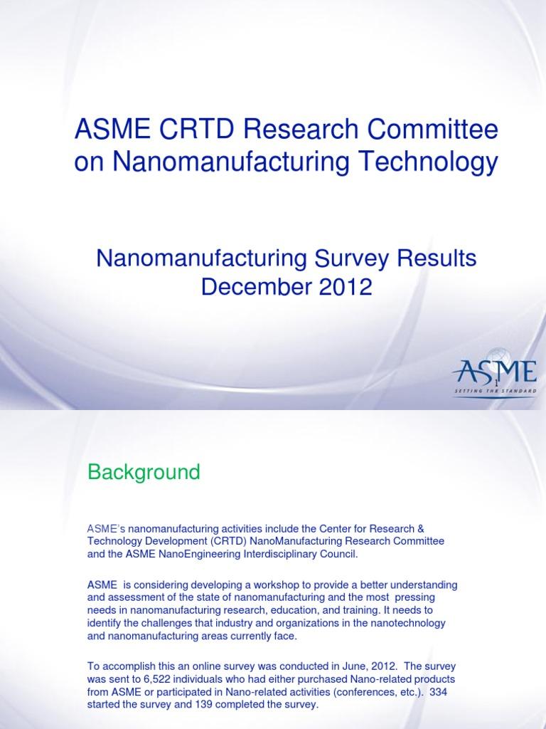 ASME Presentation - Nanotechnology | Nanotechnology | Nanomaterials