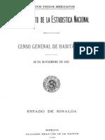 Censo General 1921 Sinaloa CGHESIN21I