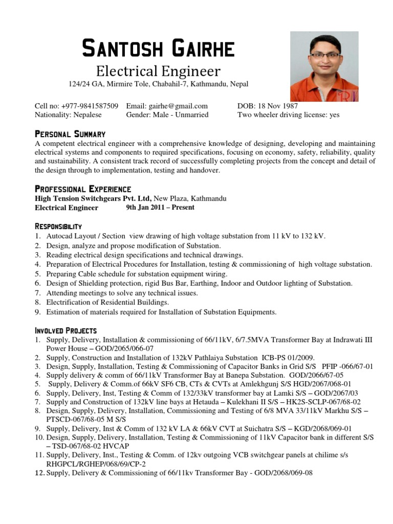 electrical engineer cv sample electrical substation electricity - Electrical Project Engineer Sample Resume