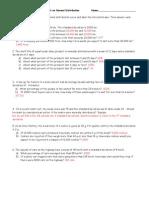 Normal Distribution Worksheet 2 - ANS