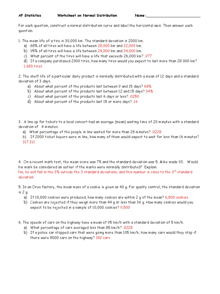 Normal Distribution Worksheet 2 ANS Standard Deviation – Standard Deviation Worksheet with Answers