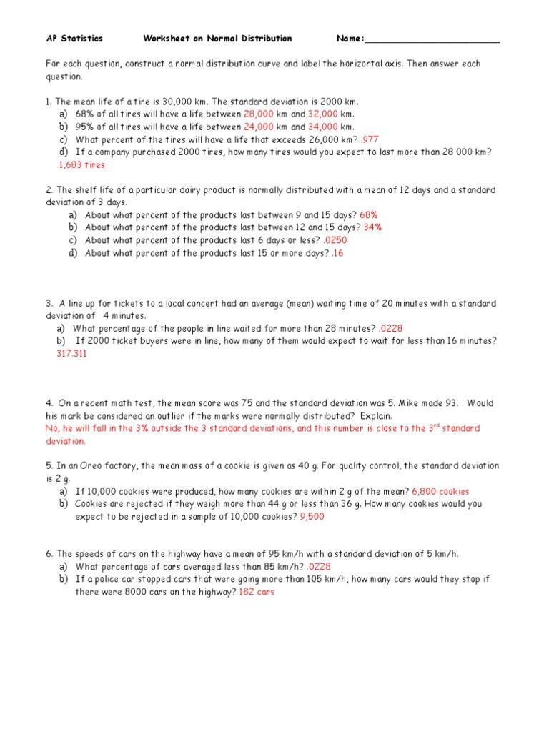 Normal Distribution Worksheet 2 - ANS | Standard Deviation ...