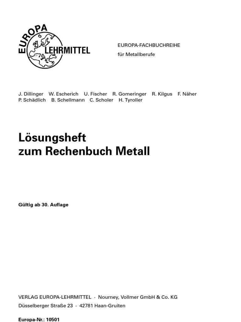 Rechenbuch Metall Lösungen