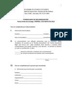 Formulario Recomendacion Para El PREH 2013