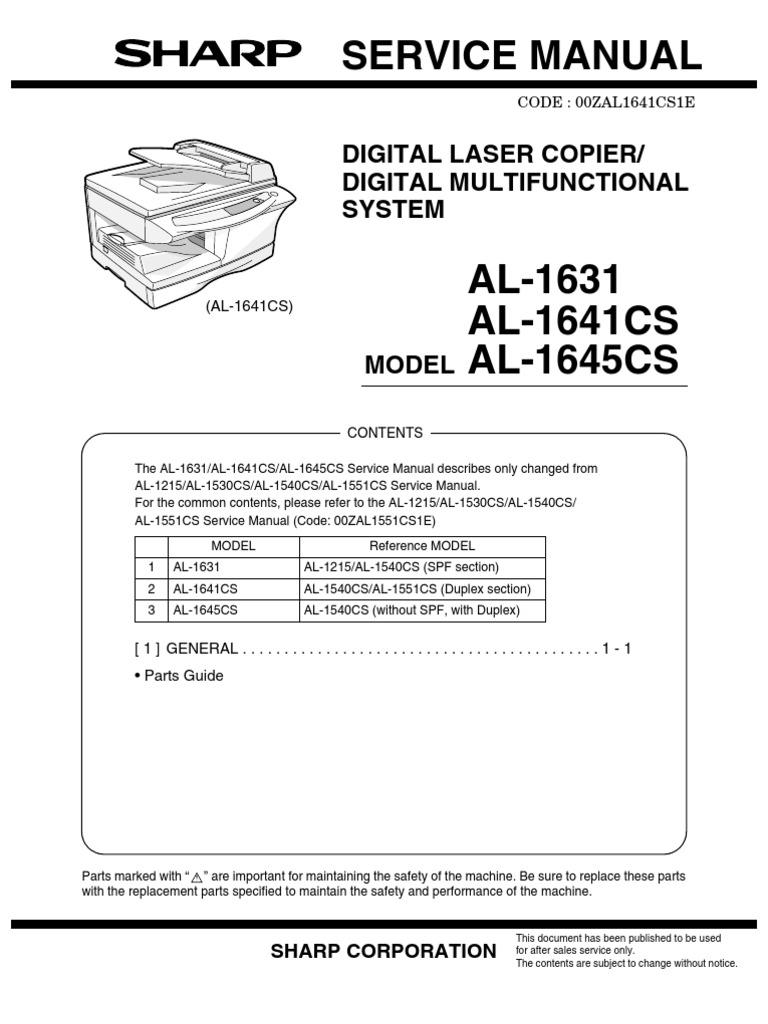 sharp service manual al1530 1631 1641 1645 rh scribd com KB Sharp 6525P5 Sharp ManualsOnline
