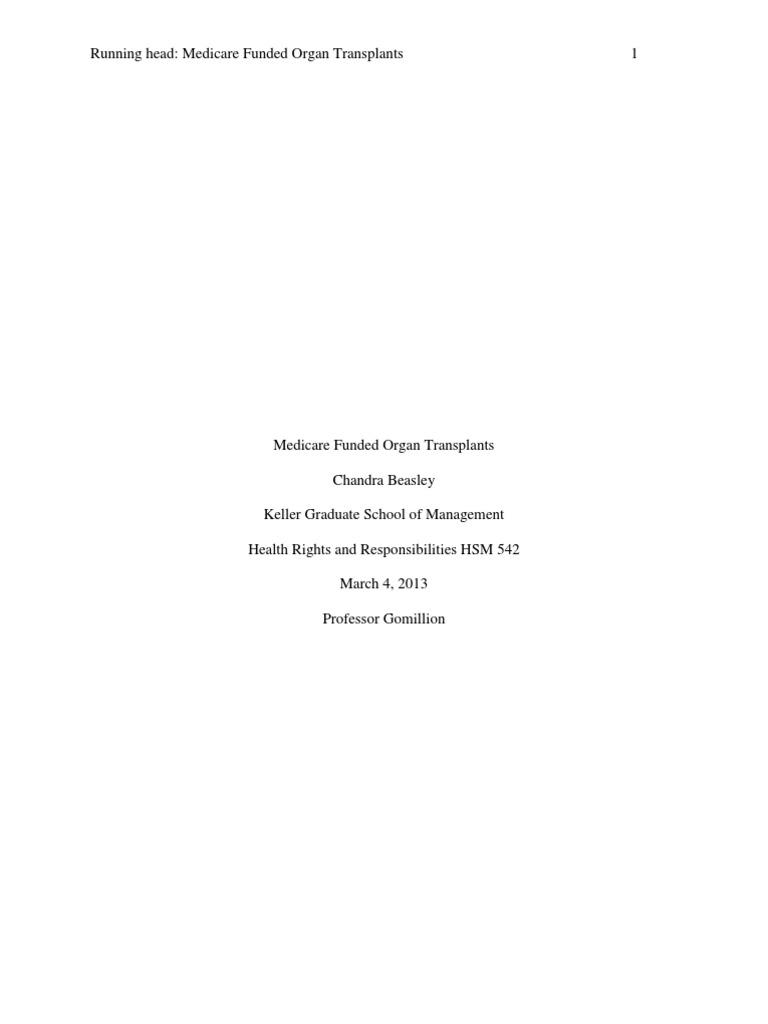 Course Project Hsm542  Medicare (united States) An Transplantation