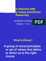 Ethical Dilemma and Leadership Values and Ethical Reasoni