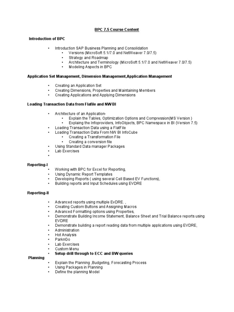 SAP-BPC | Business Process | Microsoft Excel