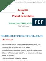 Solubilité & produit de solubilité