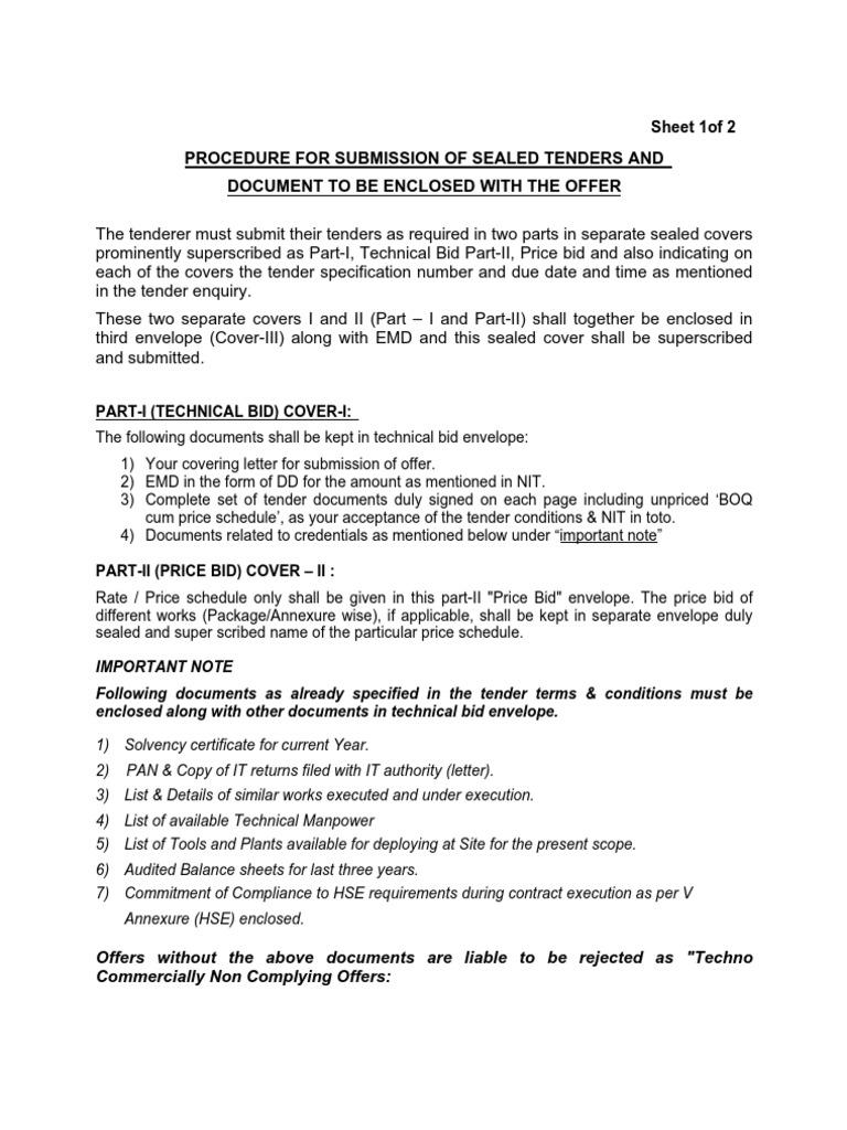 3. Procedure-sealed Tender   Envelope   Government Information