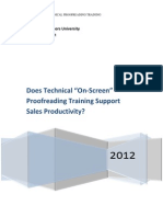 "Does Technical ""On-Screen"" Proofreading Training Support Sales Productivity?"