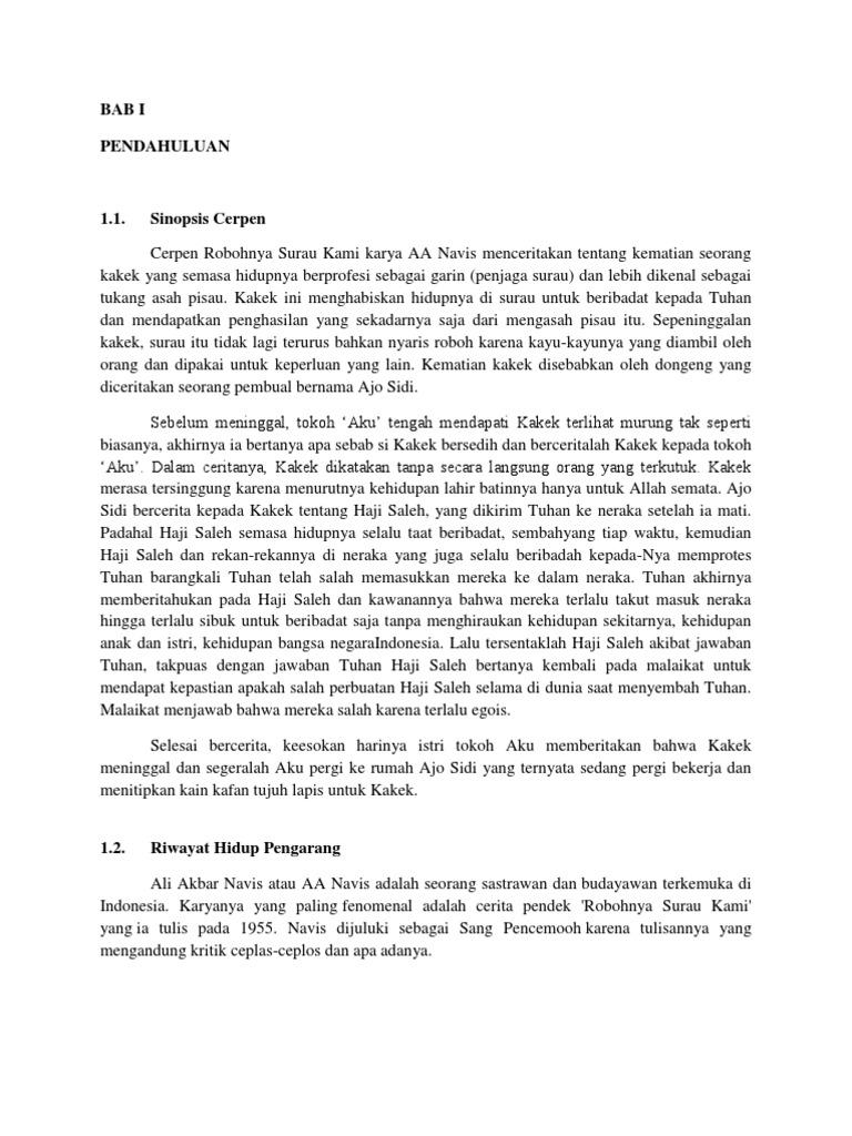 Sinopsis Cerpen Robohnya Surau Kami Karya Aa Navis Gambaran