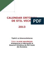 Calendar creştin ortodox de stil vechi românesc 2013