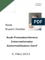 Rupert Stadler - Internationaler Automobilsalon Genf - 2013