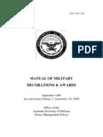 dod 134833 manual of military awards