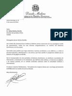Carta de Felicitación del Presidente Danilo Medina al Periódico El Día por su Décimo Primer Aniversario