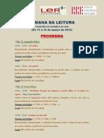 Semana Da Leitura 2013 - Programa