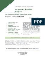 2008 2009 IHEP Brochure avec séminaires à l' ENS rue d' Ulm, Paris - Institut des hautes études en psychanalyse