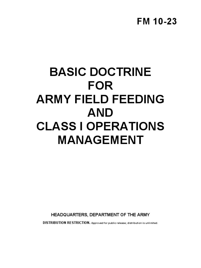 fm 10-23 basic doctrine for army field feeding and class 1
