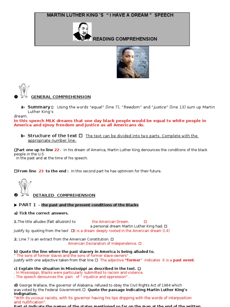 I Have a Dream READING Worksheet Answer Key | Martin Luther King ...