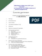Format of Aiou Internship Report Banking Finance