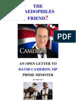 Open Letter David Cameron PM - The Paedophiles Friend (13-03-03)