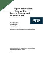 Porirua Stream - Ecological Restoration Priorities for the Porirua Stream and Its Catchment