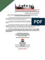 Ante el sensible fallecimiento del Compañero Presidente Hugo Chávez Frías.