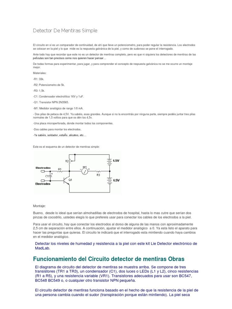 Detector De Mentiras Simple Led Circuito Basado Probador Transistores 1539170669v1