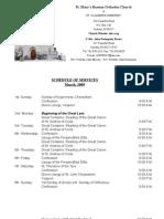 Schedule of Divine Services - March, 2009