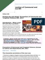 Hindujagruti.org-AntiHindu Prevention of Communal and Targeted Violence Bill