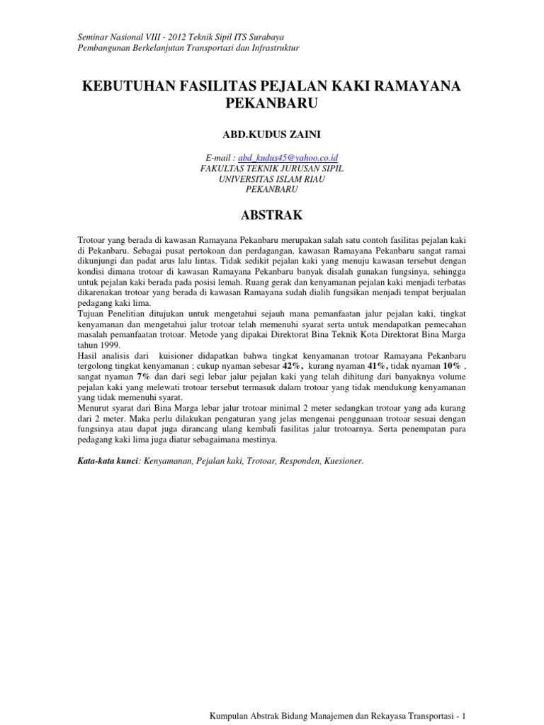 Semnas Teknik Sipil Viii 2012 Bidang Mrt Abstrak