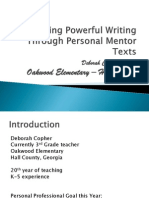 Teaching Powerful Writing Through Personal Mentor Texts
