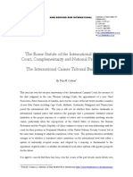 The Rome Statute of the International Criminal-Court, Complementarity and National Prosecutions:The International Crimes Tribunal Bangladesh