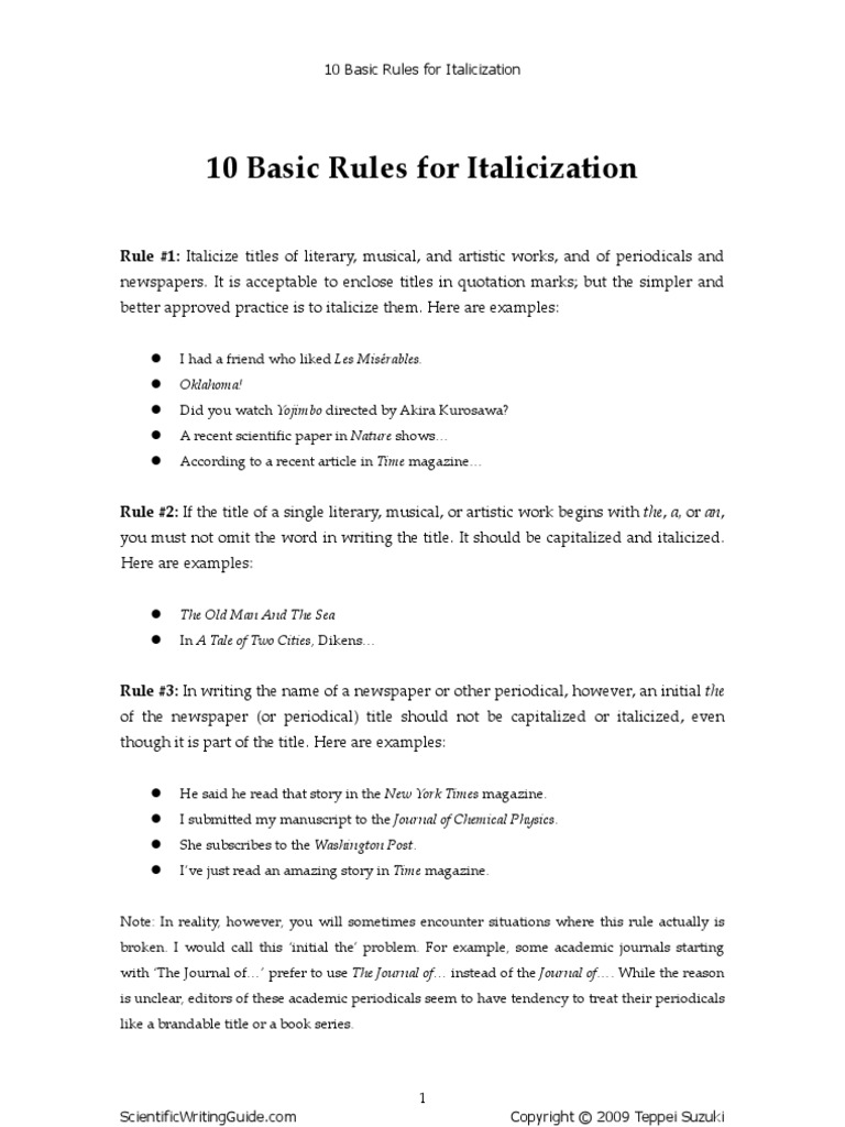 10 Basic Rules for Italicization | Write Off | Ellipsis