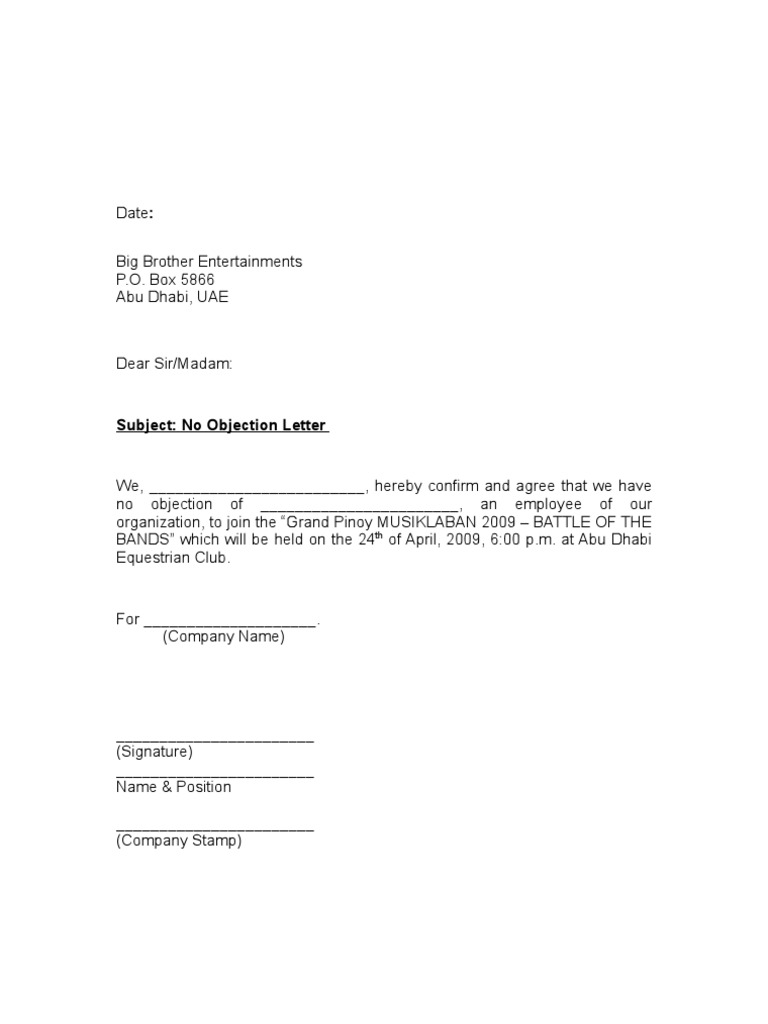 No Objection Letter – Letter for No Objection
