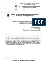 4 Paradigmes Pour Cerner Le Domaine de Recherche en Entrepreneuriat (Thierry Verstraete CIFEPME2004) 05 03 11 (1)