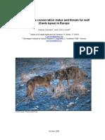 Rapport om status af og trusler imod ulven i Europa