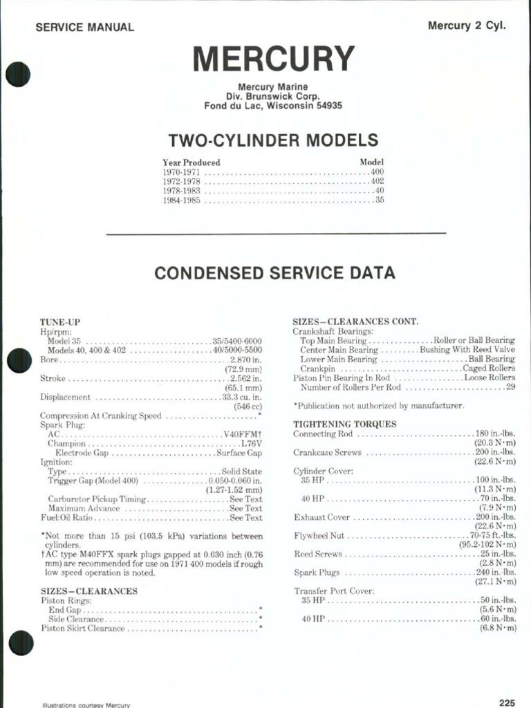 Mercury thunderbolt 200 20 hp service manual