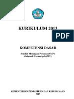 Kurikulum 2013 - Kompetensi Dasar SMP [ver 3/3/13]