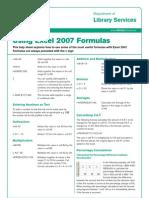 Using Excel 2007 Formulas