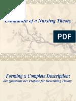 Evaluation of a Nursing Theory NURSING THEORY PPT