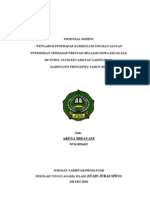 Contoh Proposal Skripsi Kuantitatif Pgsd Pejuang Skripsi