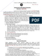 Admission Into Postgraduate Programs at BUET in April 2013